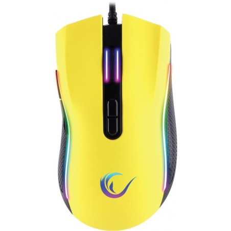 Rampage SMX-R44 macro RGB gaming muis - 6400 DPI - Geel