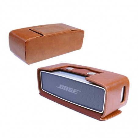 Tuff-Luv Vintage Genuine Leren Hoesje Voor Bose Sound Link Mini / Mini ii met Nfc Tag - Bruin