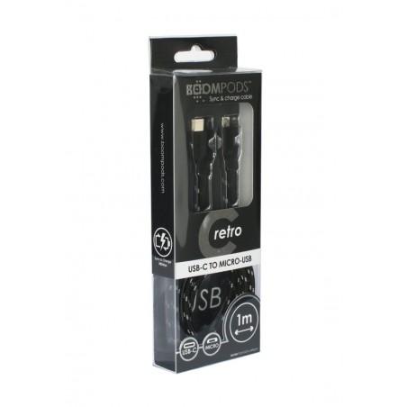 Boompods Retro type C USB kabel met micro USB aanlsuiting (1 meter) - Zwart