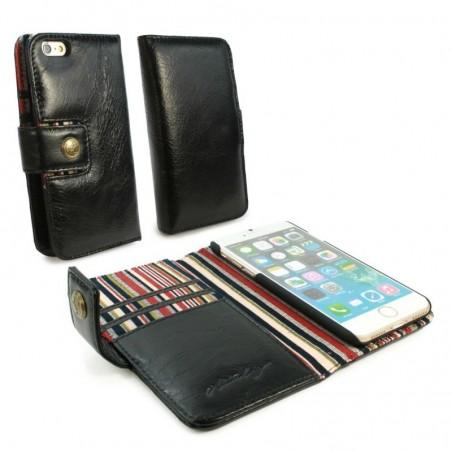 Alston Craig Echt Leren Portemonnee Hoesje voor de Apple Iphone 7 - Zwart