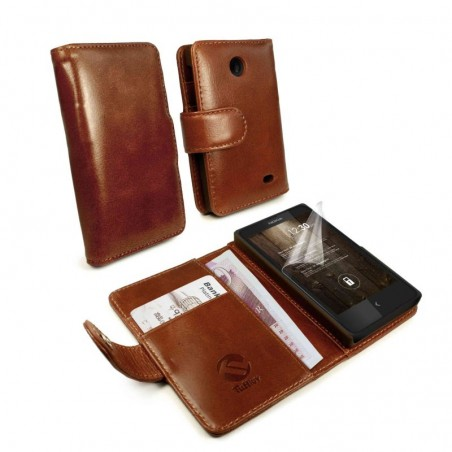 Tuff-Luv - Vintage Lederen portemonnee hoes met screenprotector voor Nokia X en X+ - Bruin