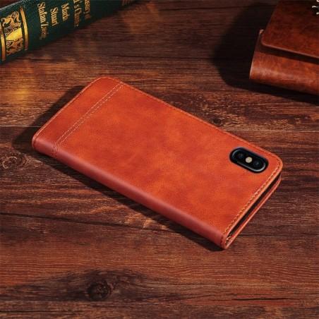 Tuff-luv - faux leren boek stijl stand beschermhoes voor de Apple iPhone X - koffiebruin