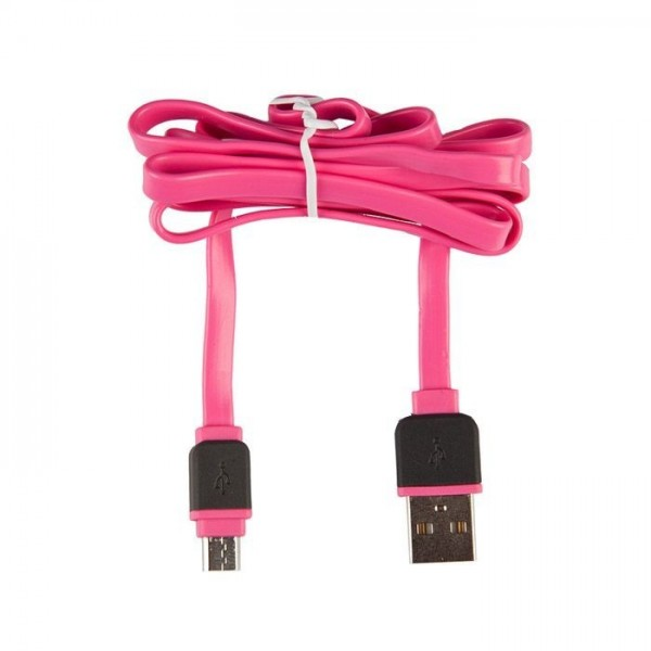 Under Control Flat Micro USB Cable 1M, Pink