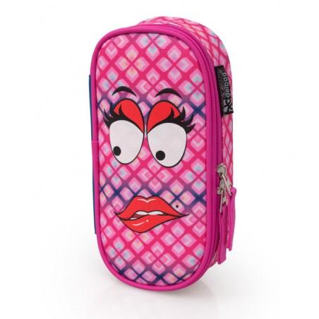 Delbag - Gezicht - Lip bijten - Etui - 21 cm- Roze
