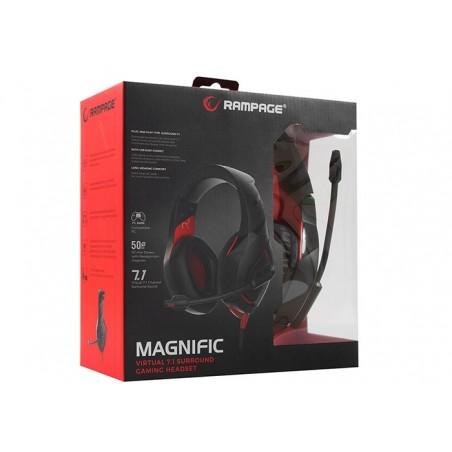 Rampage RM-K7 Magnific 7.1 gaming headset - zwart met rood