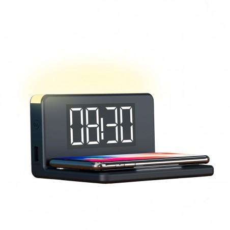 Ksix snelle draadloze oplader en alarm klok met verlichting 10W - zwart